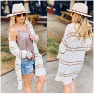 Cream and Taupe double stripe long cardigan